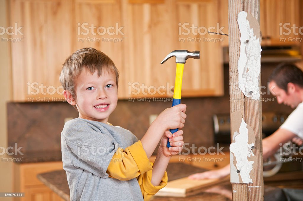 Remodeling Boy royalty-free stock photo
