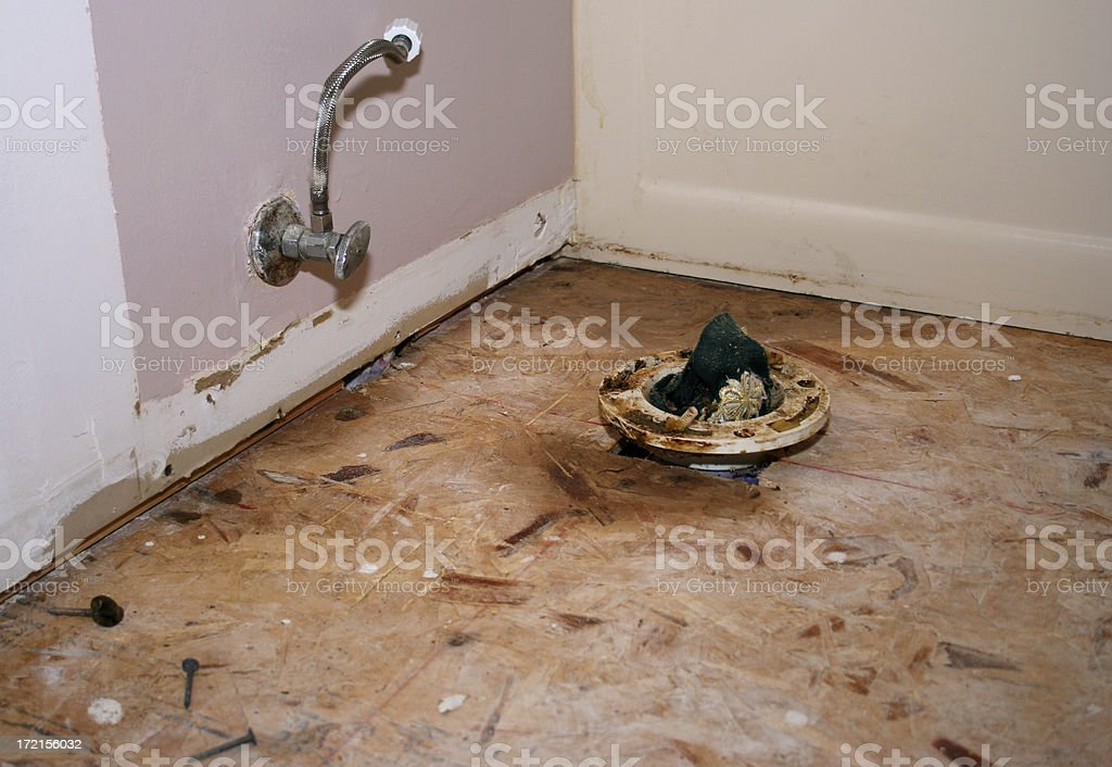 Remodeling Series: Water Closet Flange and stub royalty-free stock photo