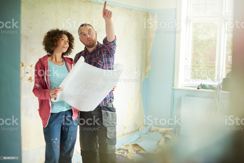 remodelling their home stock photo
