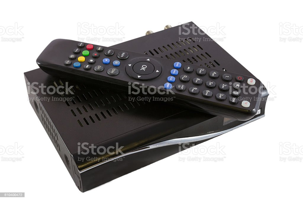 Remote and Receiver for Satellite TV on white top view stock photo