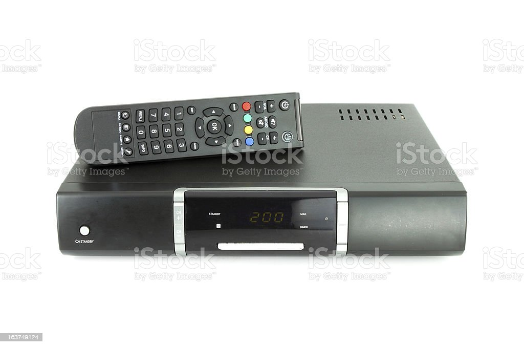 remote and receiver for satellite TV stock photo