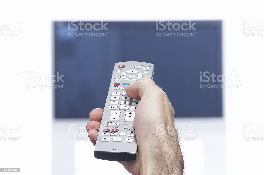 Remote and TV royalty-free stock photo