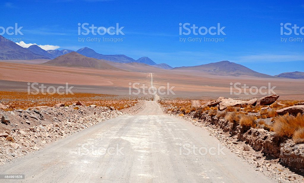 Remote, Barren volcanic landscape of the Atacama Desert, Chile stock photo