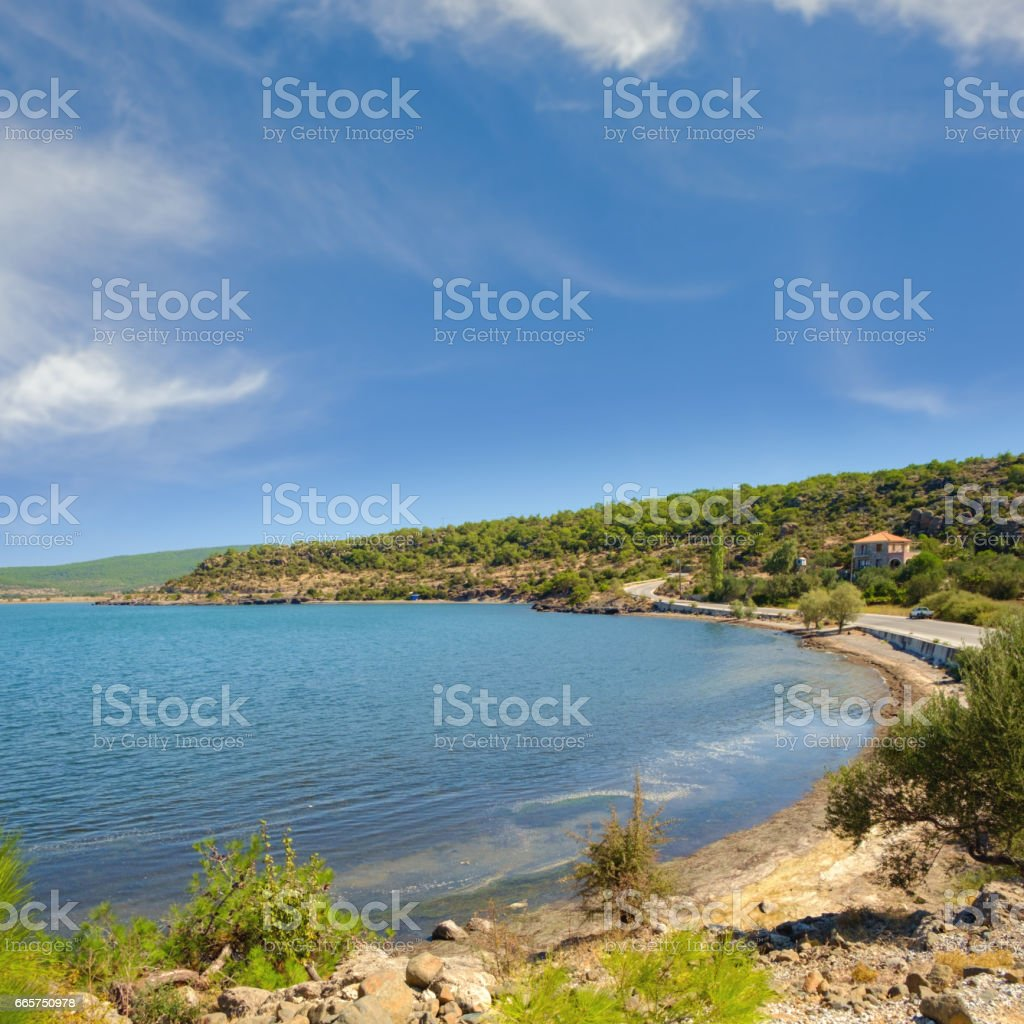 Remote beach on east part of Kalloni bay, Lesvos stock photo