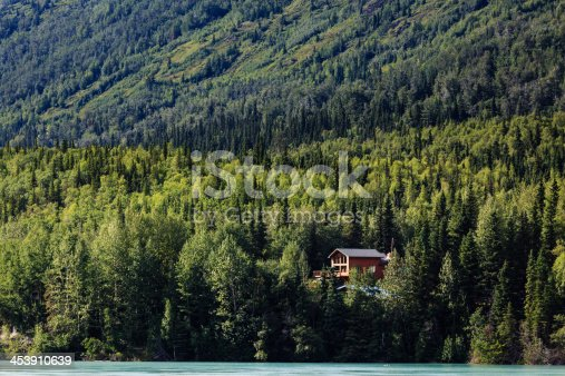 Remote cabin in the woods reveals itself in the Alaskan wilderness in summertime