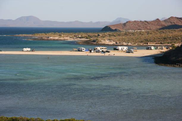 Remote camping on Playa El Requeson, Baja California Sur, Mexico stock photo