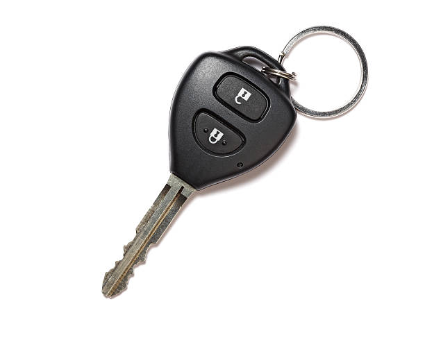 Remote car key isolated on white stock photo
