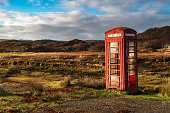 A solitary telephone box near Kentra bay in ardnamurchan, Lochaber, Scotland