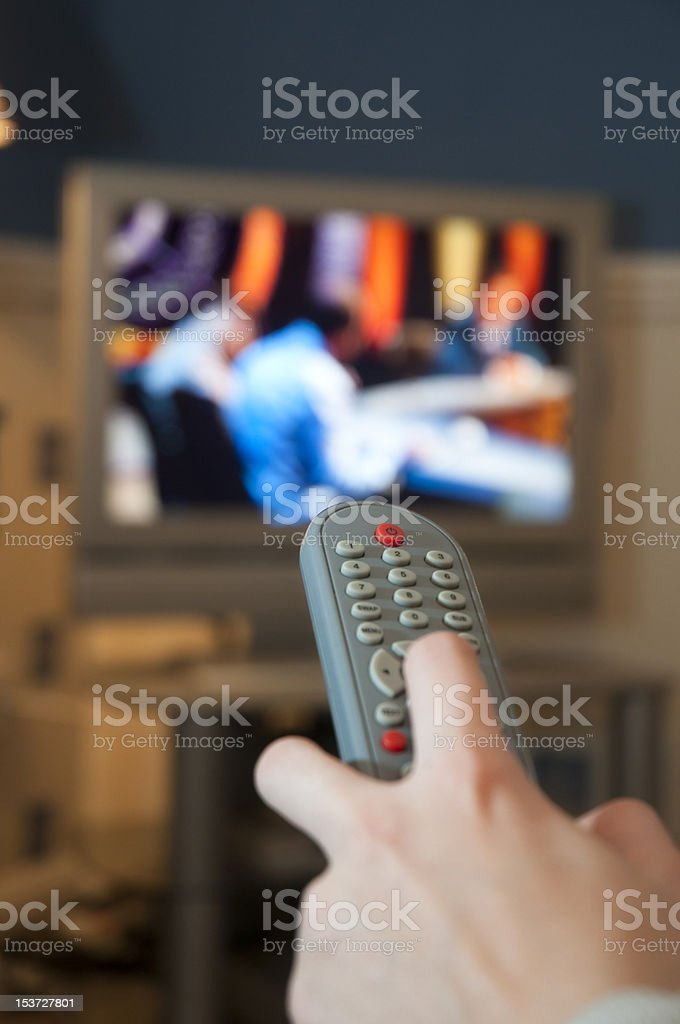 remote control and tv screen stock photo