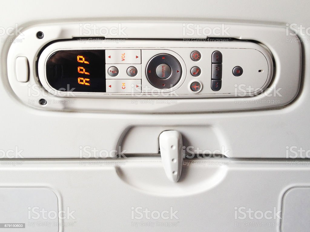 Remote Control Back of Airplane Seat stock photo