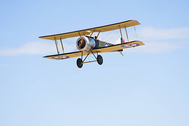 Remote Control Biplane in Flight stock photo