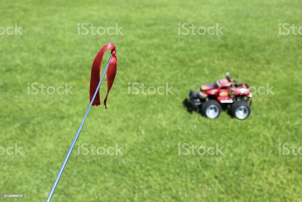 Remote control car in the background with antenna stock photo