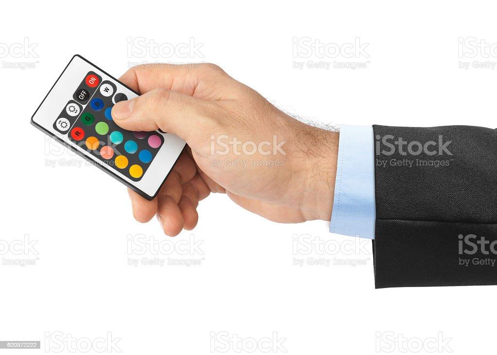 Zdalne sterowanie w dłoni na zmiany barwy zbiór zdjęć royalty-free