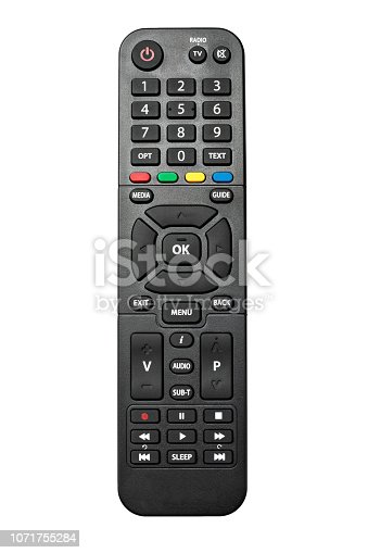 istock TV remote control isolated on white background 1071755284