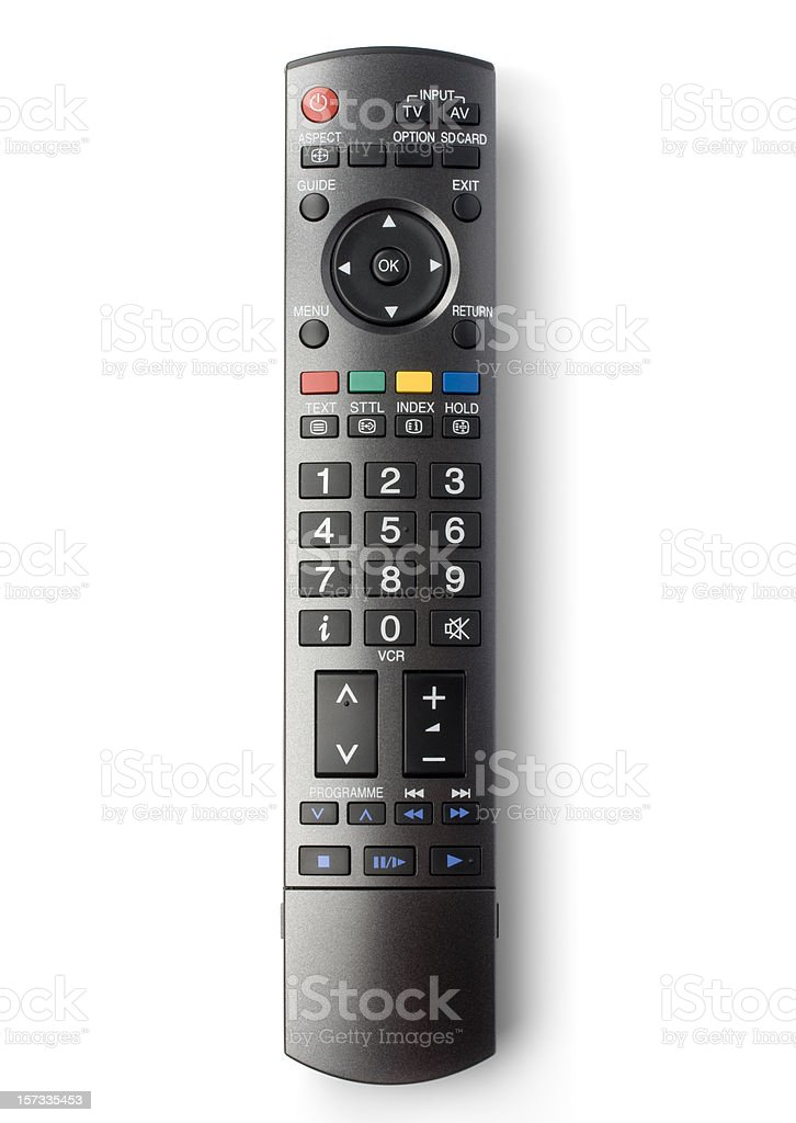TV remote control (clipping path), isolated on white background stock photo