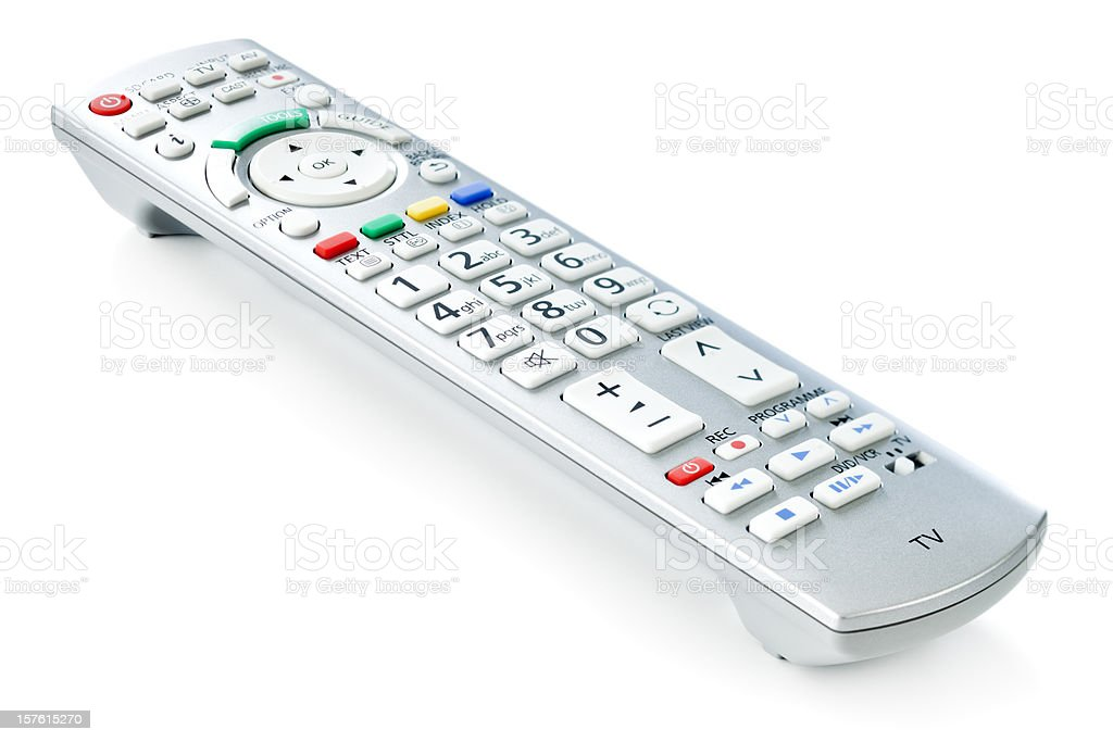 TV remote control, isolated on white background stock photo