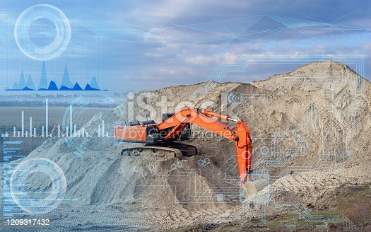 1136415363 istock photo remote control of the excavator with the help of a given program and computer simulation, construction and analysis of data by artificial intelligence and cloud computing 1209317432