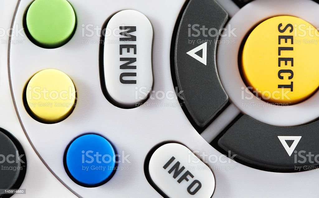 TV Remote Control Closeup of remote control. Audio Equipment Stock Photo