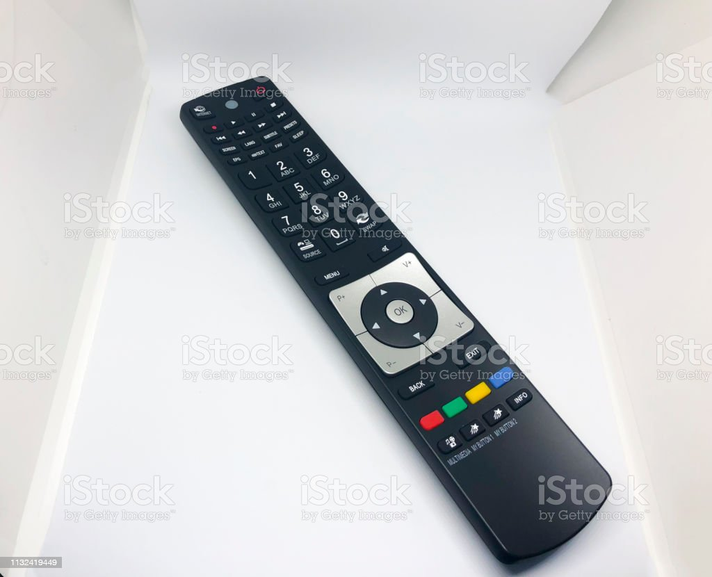 Remote control TV isolated on white background stock photo