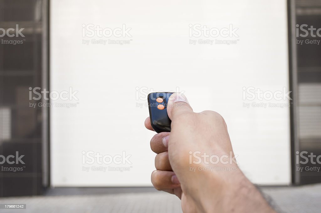 remote control with the door closed stock photo