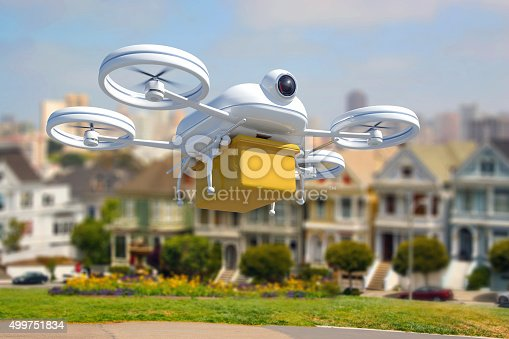 Composite image of a 3D generated model of a remote controlled drone delivering a box with goods and mail. Technology innovations allow drones to ship and deliver goods quickly. The quadricopter has a camera and GPS to follow the route to destination. Drone model is white, carrying a brown yellow box. A street scene of san Francisco, USA, fills the background. Day with sunlight.