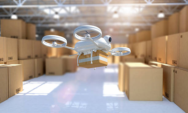remote controlled drone taking off from warehouse to deliver package - delivery robot bildbanksfoton och bilder