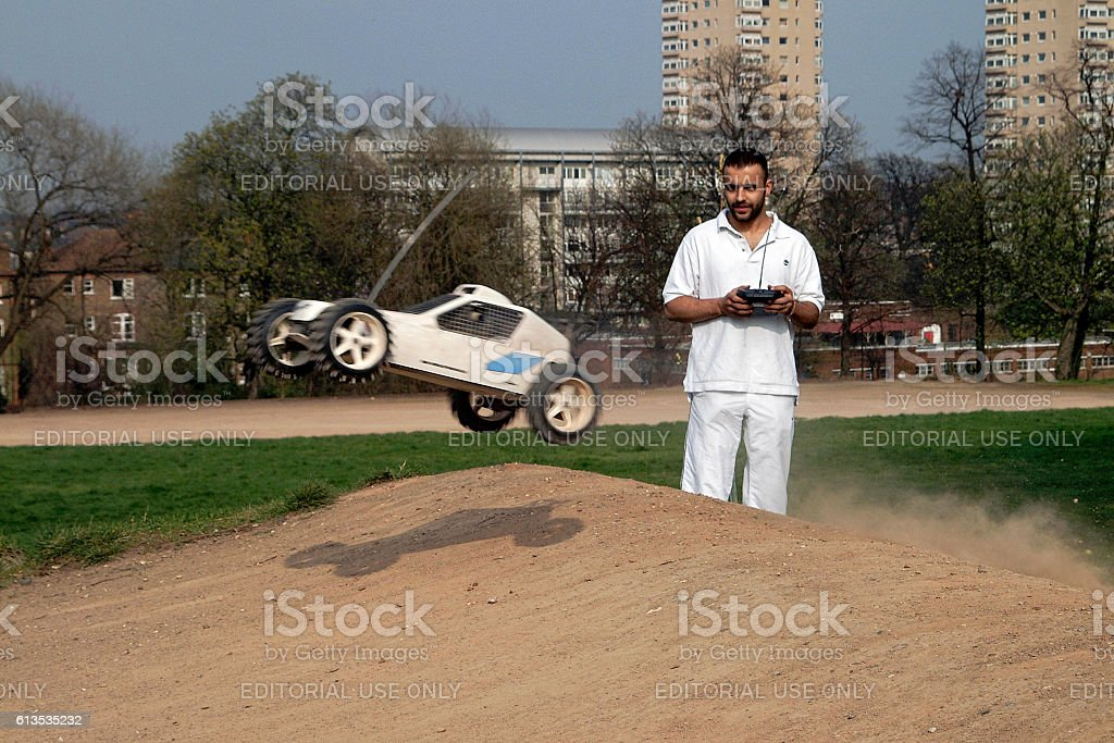 Remote controlled model ralley car stock photo