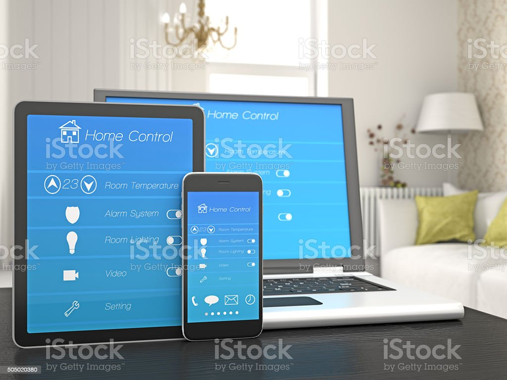 Remote home control on a Portable Information Device stock photo