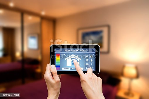 istock Remote home control system on a digital tablet. 482662790