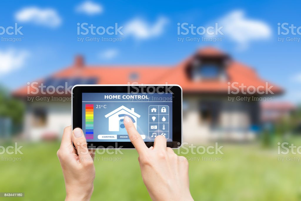 Remote home control system on a digital tablet. royalty-free stock photo