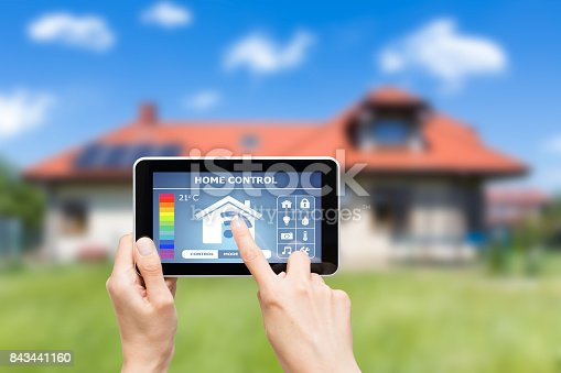 istock Remote home control system on a digital tablet. 843441160