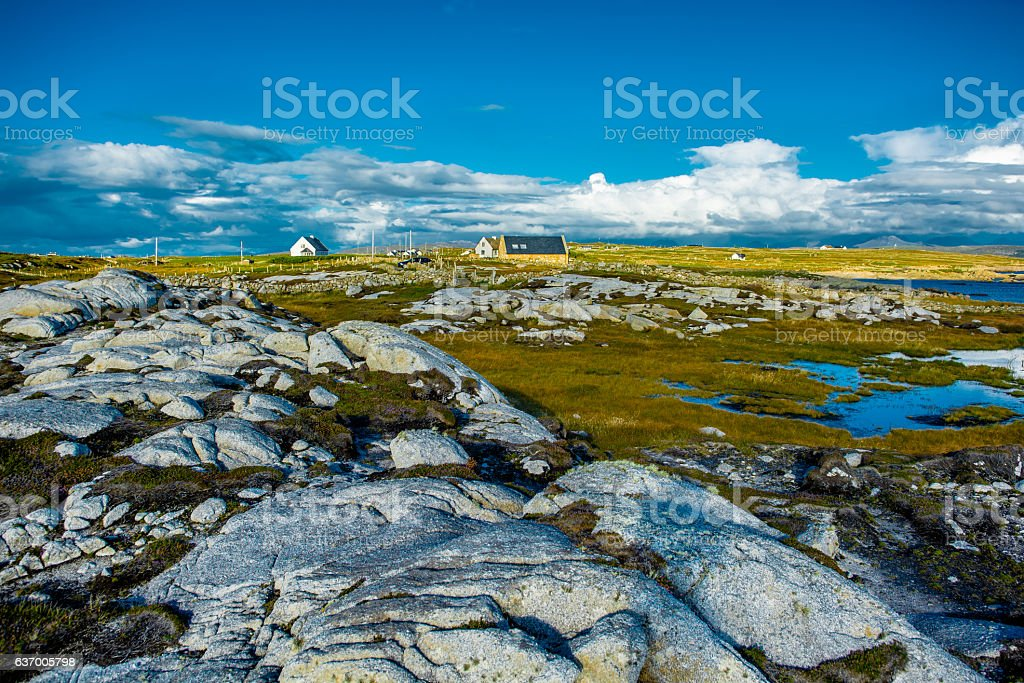 Remote House in Connemara in Ireland stock photo