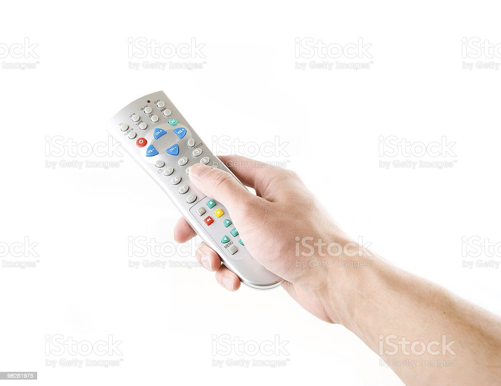 remote in a hand on the white royalty-free stock photo