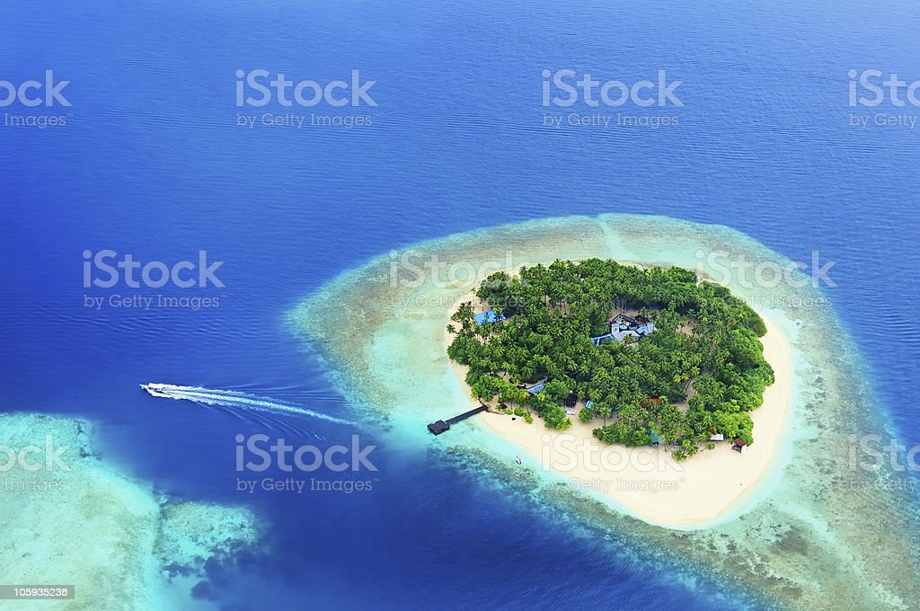 Remote Island in the ocean stock photo