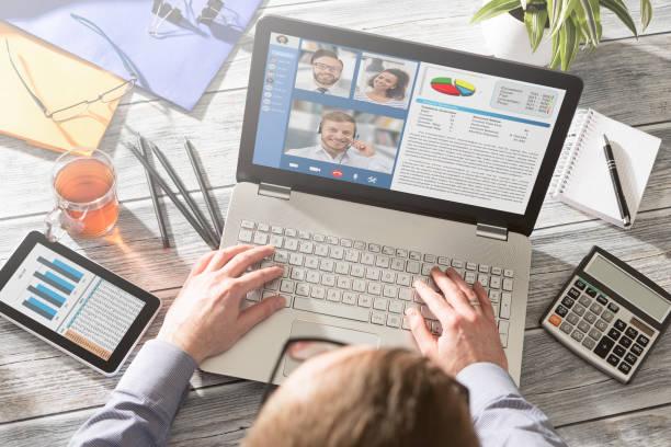 apprentissage ou travail à distance. concept de vidéoconférence. - visioconférence photos et images de collection