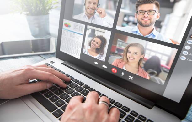 fernlernen oder arbeiten. videokonferenzkonzept. - scyther5 stock-fotos und bilder