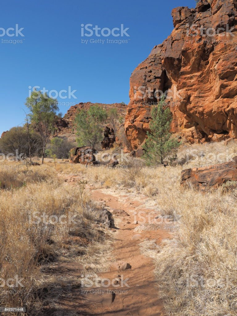Remote N'Dhala Gorge near Ross River Station, east MacDonnell ranges , Alice Springs, Northern Territory, Australia 2017 stock photo