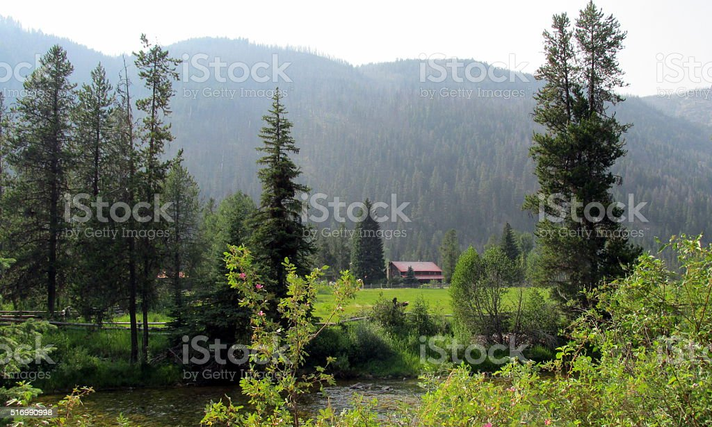 Remote Ranch, Rural Idaho Mountains stock photo