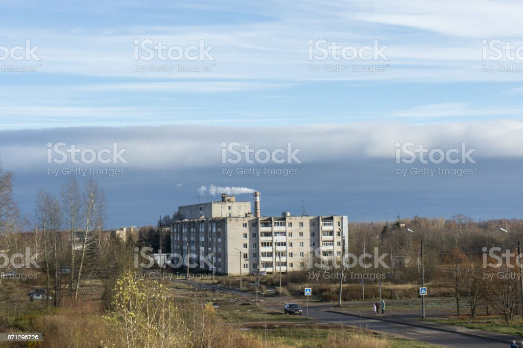 Remote residential area. Tver, Russia. stock photo