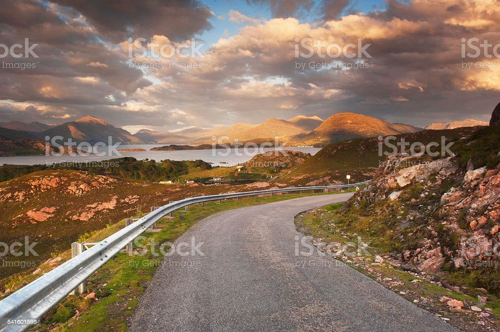 Remote road in Scottish Highlands stock photo