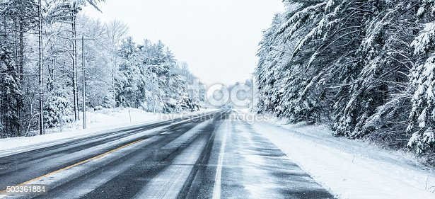 A long, remote, straight stretch of of rural highway NY State Route 3 in the Adirondacks Mountains region near the northern New York State hamlet of Cranberry Lake during a strong winter blizzard snow storm. The road is lined with forest branches bent under the weight of the heavy, wet snow.