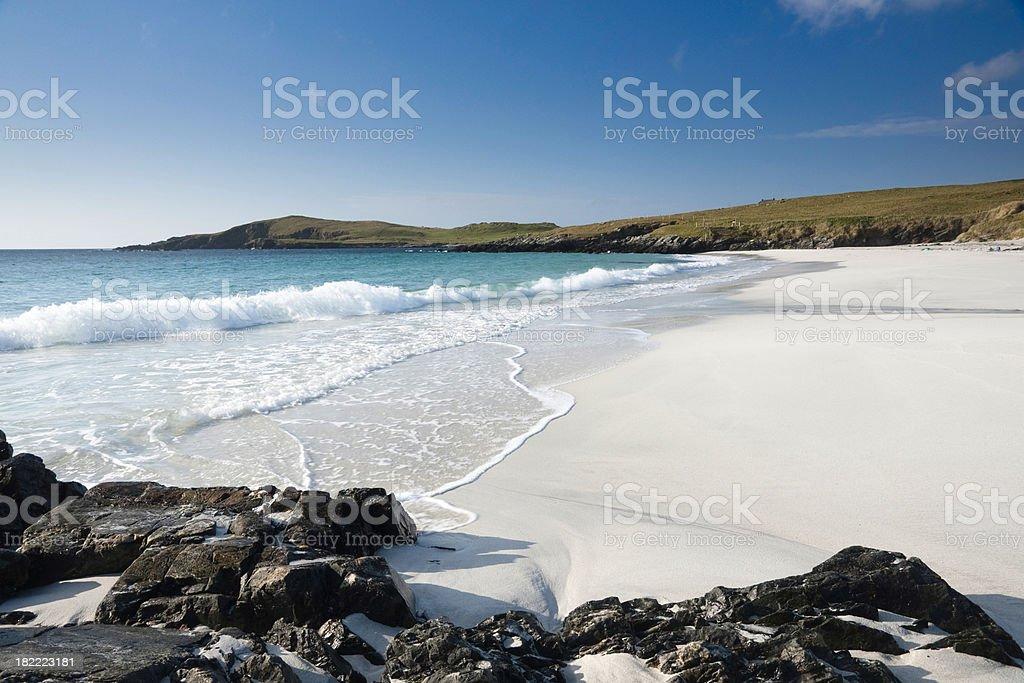 Remote Shetland beach on Trondra stock photo