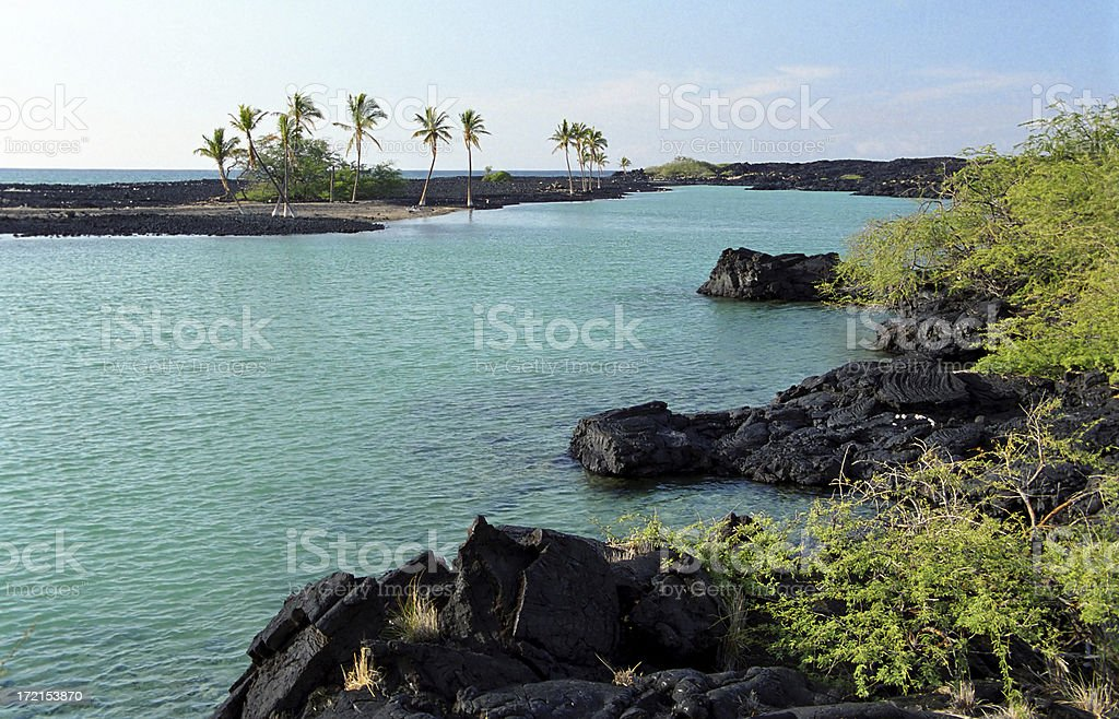 Remote Tropical Bay and Beach royalty-free stock photo