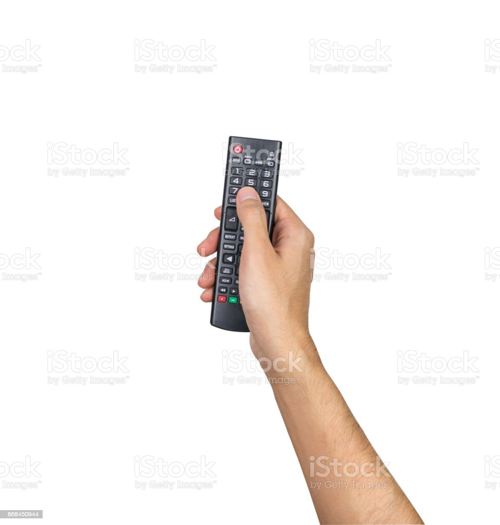 Remote TV controller hand holding isolated on white background, clipping path - Royalty-free Arts Culture and Entertainment Stock Photo