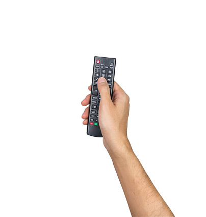 Remote Tv Controller Hand Holding Isolated On White Background Clipping Path Stock Photo - Download Image Now