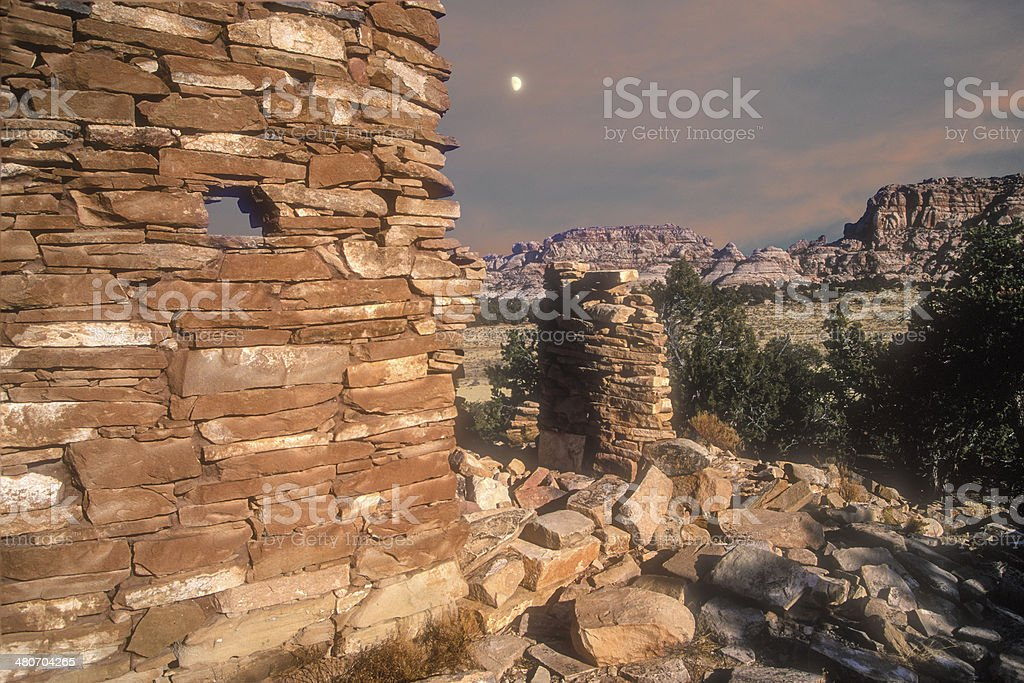 Remote Valley Ruins stock photo