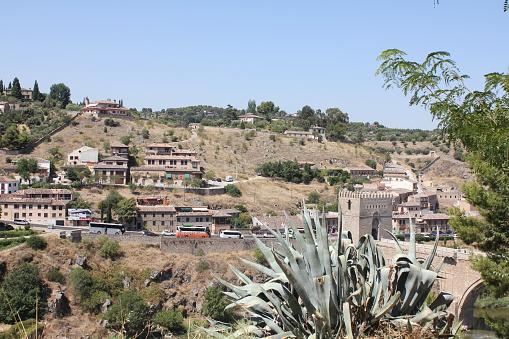 Remote View of San Martin Bridge, Tajo River, Toledo, Spain