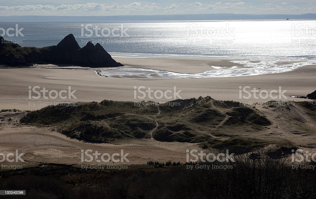Remote Welsh beach gorse foreground royalty-free stock photo