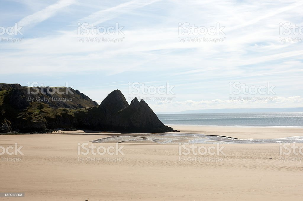 Remote Welsh sandy beach royalty-free stock photo