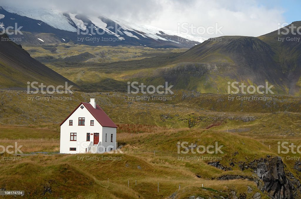 Remote white  house with red roof,  Snaefellsjokull National Park, Iceland stock photo